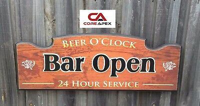 BAR OPEN 3D Sign, Beer O'clock,Great for the pool room, man cave, shed,home bar