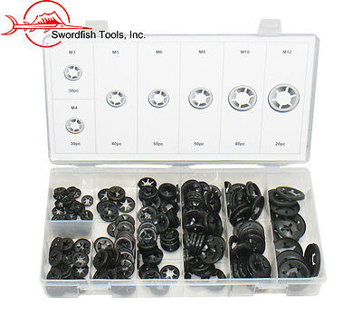 Swordfish 32341- 260pc Push Nut Push on Retainer Starlock Washer Assortment