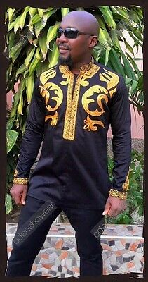 Odeneho Wear Men's Black Polished Cotton Outfit/Gold Embroidery.African Clothing