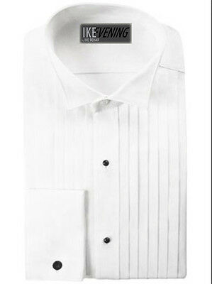 "Ike Behar 100% Cotton 1/2"" Pleat Wing Collar Tuxedo Shirt"