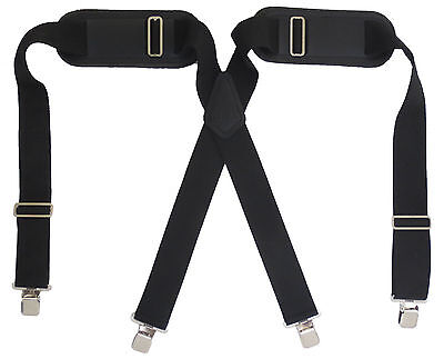 "Adjustable Padded Construction Suspenders 2"" Wide Heavy Duty Clips Large Adult"