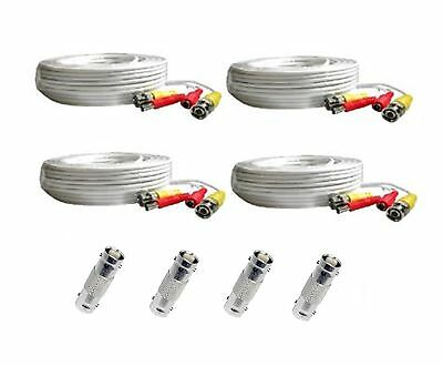 *4 PACK PREMIUM 100Ft. BNC EXTENSION CABLES FOR SWANN HD Camera  WHITE