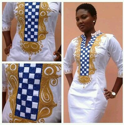 Odeneho Wear White Polished Cotton Dress/ Embroidery Design.African Clothing.