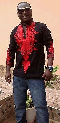 Odeneho Wear Men's Black Polished Cotton Top/Red Embroidery. African Clothing.