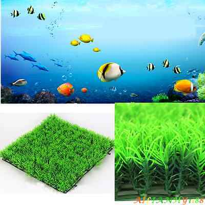 Green Plastic Aquatic Grass Plant Lawn Fish Tank Landscape Aquarium Ornament ahy