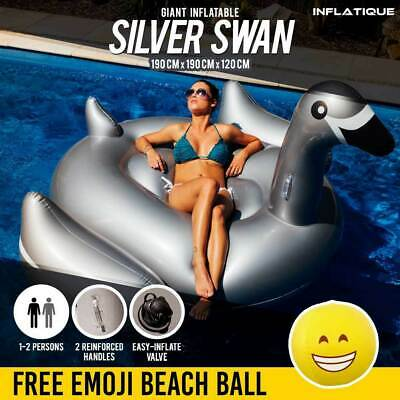 Giant Inflatable Swan | Silver Blow Up Ride On Pool Toy