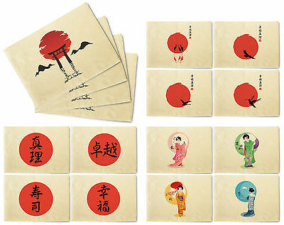 Japanese Patterns Printed Canvas Table Mats Placemats 13x19 Inch Set of 4