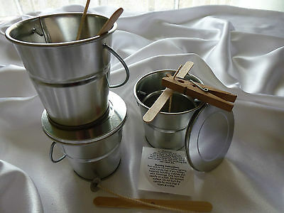 3 x outdoor tin buckets candle making kit, Citronella oil, Tea lights, Soy wax