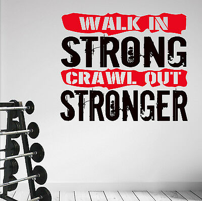 Cool WALK IN STRONG Workout Training Pro Wall Art Decal Sticker MMA Gym Fitness