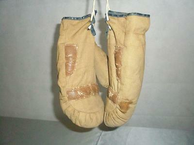 *childrens Antique Leather And Cloth Boxing Gloves *