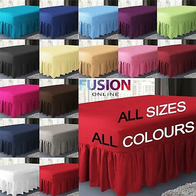 Plain Fitted Valance Sheet Dyed Poly-Cotton Bed Sheet Single Double & King Size