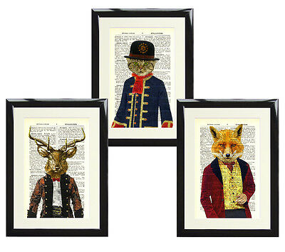 Set of 3 Antique Dictionary Page Art Print Picture Victorian Gent Fox Stag Cat