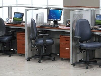 Office Cubicles Workstation Cluster of 3 Glass Privacy Panel 1 x 3