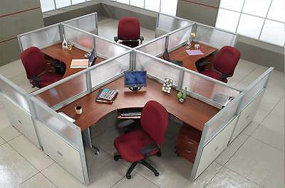 Office Cubicles Workstation Cluster of 4 with Glass Privacy Panel 2 x 2