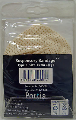 Suspensory bandage, CHOOSE SIZE, for supporting testicles. Elasticated front