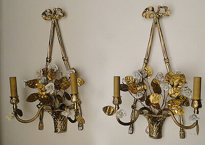 Antique French bronze and porcelain flowers pair of sconces.