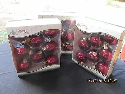 3 Boxes Of 8 Vintage Christmas By Krebs Blown Glass Ball Ornaments Burgandy Red