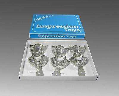 6 Pcs Dental Impression Trays set Trays-Stainless Solid Denture Instruments