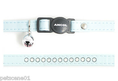 Ancol cat safety collar Pale Blue Jewel Leather look + Bell