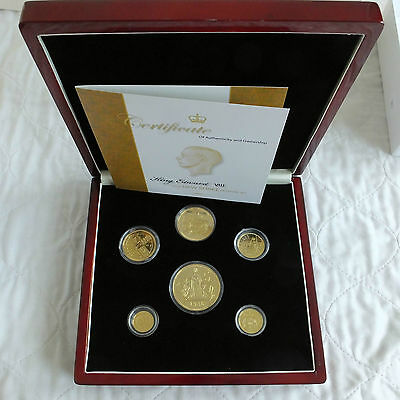 1936 EDWARD VIII NEW STRIKE 6 COIN 24ct GOLD LAYERED SILVER PROOF PATTERN SET