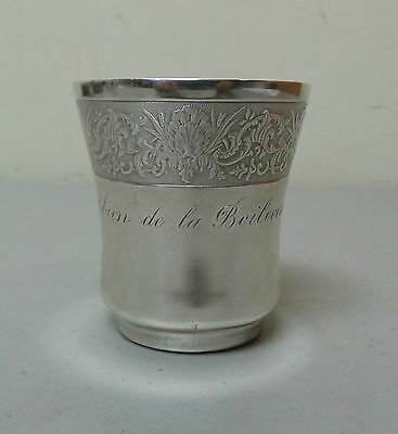 Unusual Antique French Sterling Silver Engraved Beaker