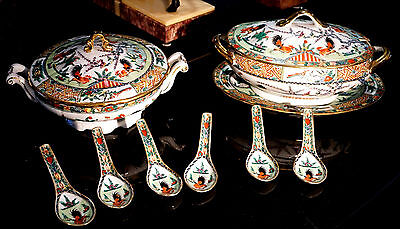Very Beautiful Famille Rose Roosters Tureen Set With Wonton Spoons Circa 1910