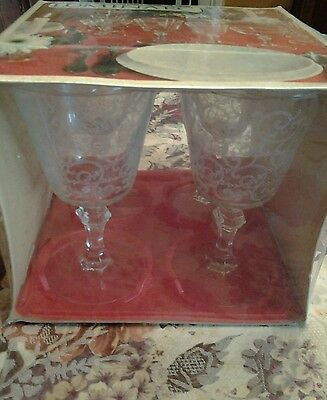 Vintage Luminarc Set of 4 NIB Elegant Glass Stemware Etched Glasses France Rare