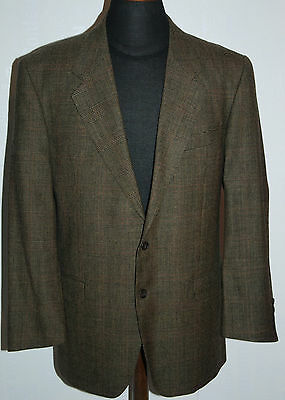 Vintage Made In England Austin Reed Wool Hacking Jacket Blazer Checked Brown 42R