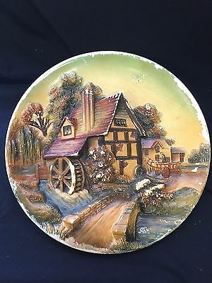VTG Rare 1951 Bossons Chalkware Hanging Decorative Plate Hand painted Old Mill