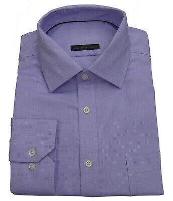 Ex M&S New Mens Textured Cotton Lilac Regular Fit Long sleeve Shirt Size 15