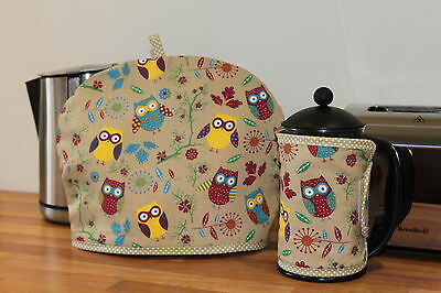 Owls, Handmade Tea Cosy and Cafetiere Cosies