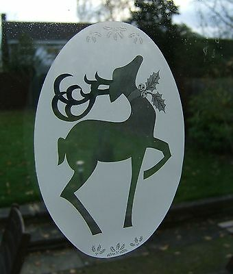 CHRISTMAS REINDEER Vinyl Window Decoration / Static Cling / Decal 10x15cm