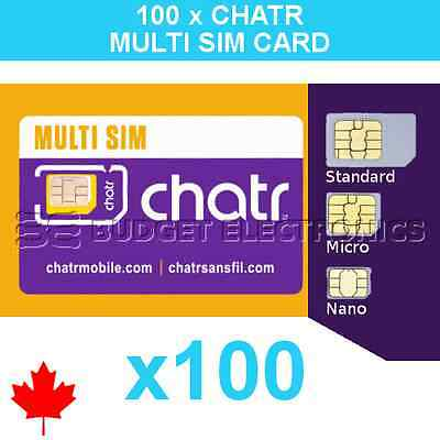 100 pcs New Chatr Multi Prepaid Triple Format Sim Cards - Wholesale Bulk Canada