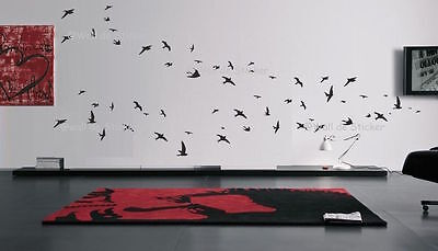 Flock of 23 Flying Birds Living Room Bedroom Bathroom Wall Art Sticker decals