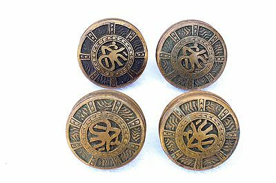 Set of Four Mallory Wheeler & Co. Arabic Antique Brass Door Knobs c. 1880