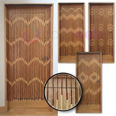 Wooden Bamboo BEADED DOOR CURTAIN Fly Screen Bug Mesh Arrow Cloud Diamond Wave