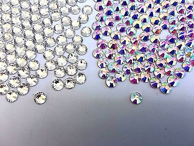 Clear Crystal AB Rhinestone Glue On No Hotfix Flatback Glass Nail Art Gem Stone
