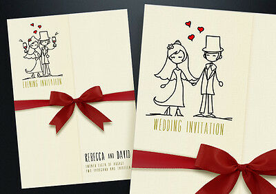 50 Personalised Gatefold Wedding Day and Evening Invitations with envelopes