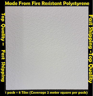 2M² Polystyrene Ceiling Tile Panel Flame Retardant Fire Resistant Gent 1 Pack
