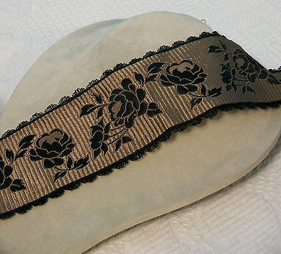 "16+ Yds  Exquisite Vintage French 3-3/8"" Floral Jacquard Scalloped Edge Ribbon"