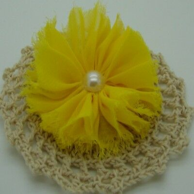 Yellow Chiffon Flower with Pearl Centre x 1 RNB