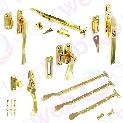 BRASS WINDOW STAY SLIDING LOCK CASEMENT FASTENER Cockspur Handle 250mm