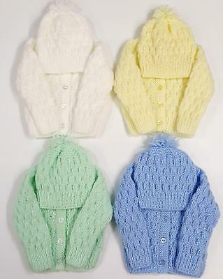 Brand New Hand Knitted Baby Cardigan & Hat Set For 0-3 Months Choice Of Colour