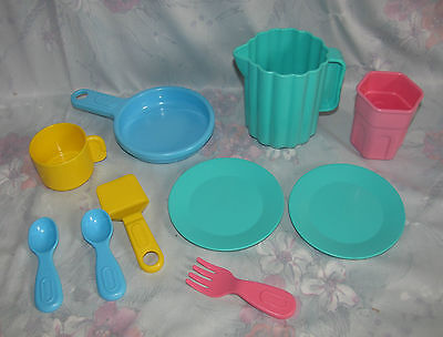 Little Tikes Plastic Play Kitchen Dishes Set  - Pitcher, Frying Pan, Plates, etc