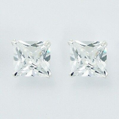MENS stud earrings Cubic zirconia 925 sterling silver stud 10mm square fashion