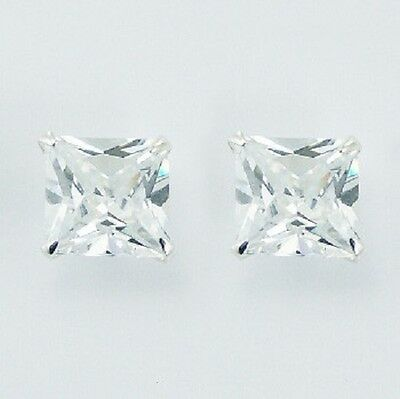 MENS stud earrings Cubic zirconia 925 sterling silver stud size 8mm square