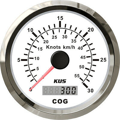85mm White GPS speedometer 0-30knots for marine boat CMSB-WS-30L(SV-KY08105)