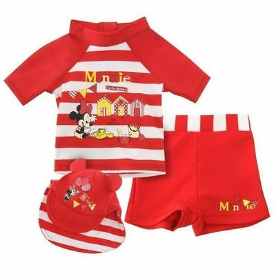 DISNEY Minnie MOUSE BABY Girls SUN SUIT SWIM SWIMMING 3 PIECE COSTUME Ages 0-24m