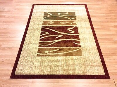 QUALITY RED BEIGE Simple Modern Contemporary EASYCARE NONSHED Rug XS - XL 50%OFF