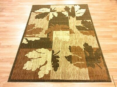 QUALITY GREEN TAN LEAF Modern Contemporary EASYCARE NONSHED Rug XS -  XL 50%OFF